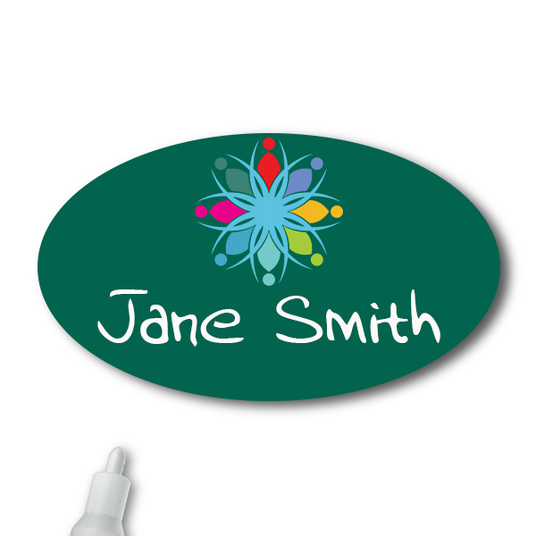 Customized Oval 1.75 x 2.5 Chalkboard Reusable Name Tag - Example