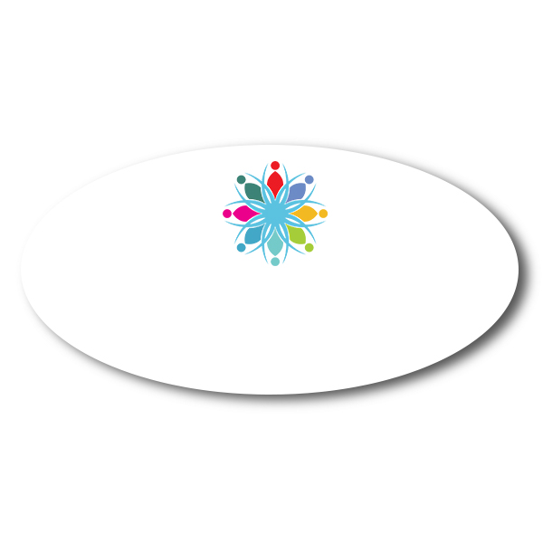 Customized Oval 1.5 x 3 Dry Erase Reusable Name Tag - Blank