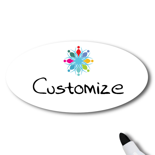 Customized Oval 1.5 x 3 Dry Erase Reusable Name Tag