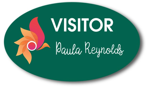Visitor Chalkboard Oval Name Tag