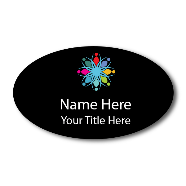 Full Color Custom Oval Name Tag - 1.75 x 3