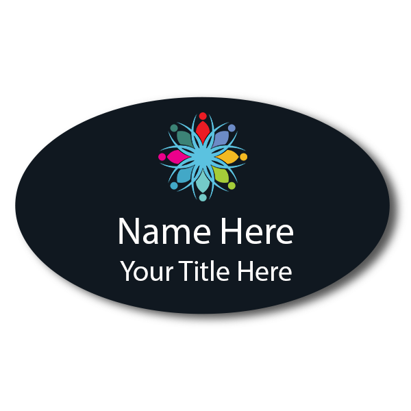 Full Color Custom Oval Name Tag - 2 x 3