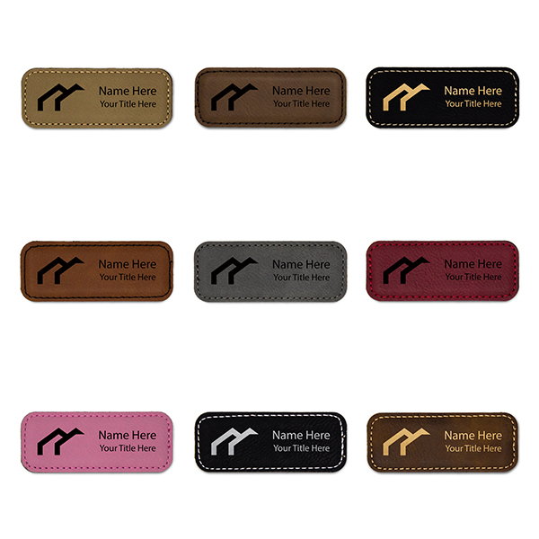 """Leatherette Rectangle Magnetic Name Tag - 1.25"""" x 3.25"""" Color Examples"""