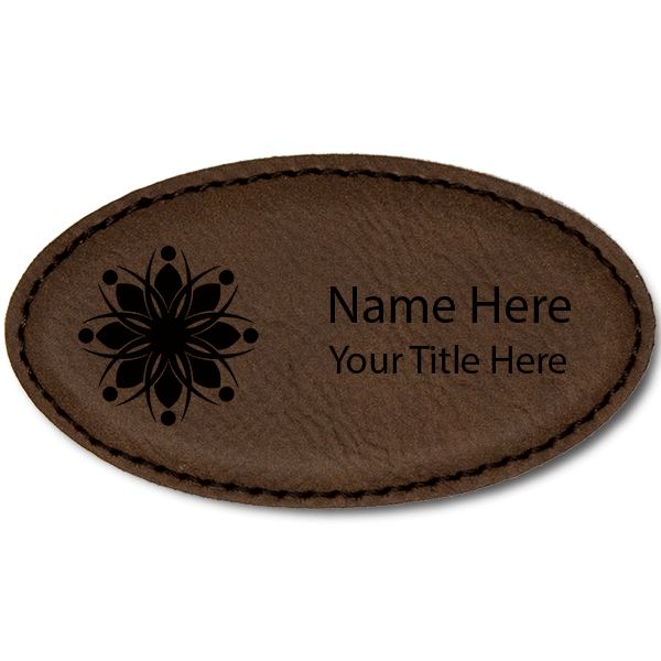 Leatherette Oval Magnetic Name Tag - 1.75