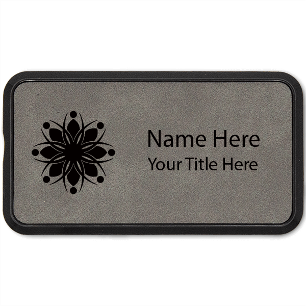 Leatherette Rectangle Name Tag with Frame - 1.5