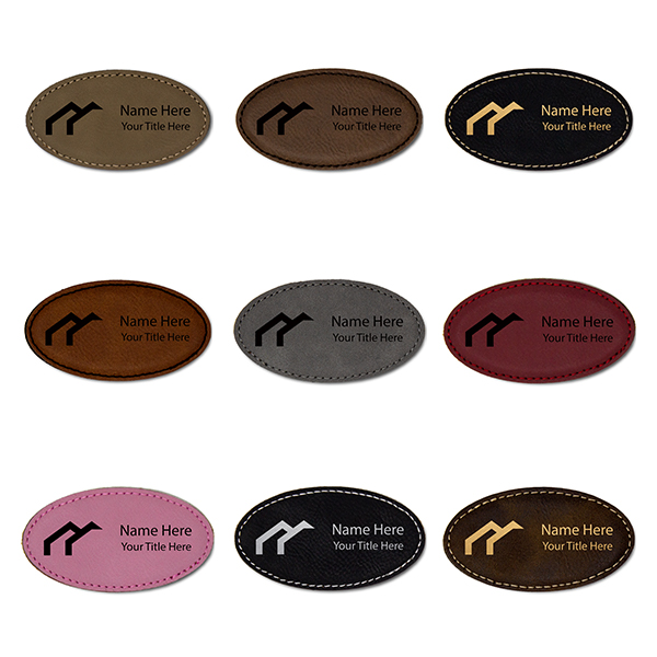 "Leatherette Name Tag with Frame - Oval 1.75"" x 3.25"" Color Options"
