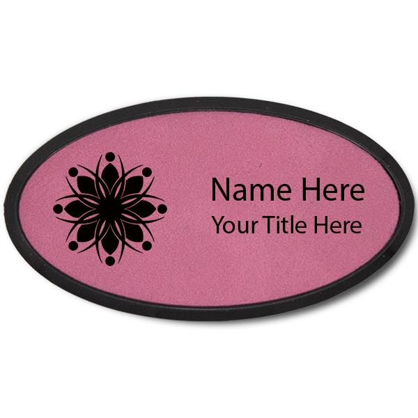 Leatherette Name Tag with Frame - Oval 1.75