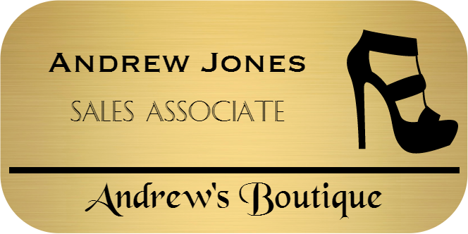 Shoe Store 3 Line Rounded Rectangle Name Tag
