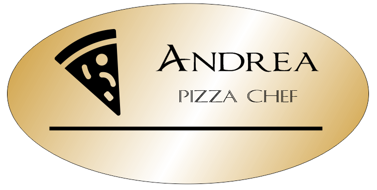Italian Restaurant Names: Oval Italian Restaurant 2 Line Name Tag, Gold