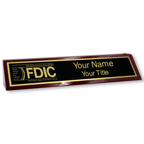 FDIC Wood Desk Name Block