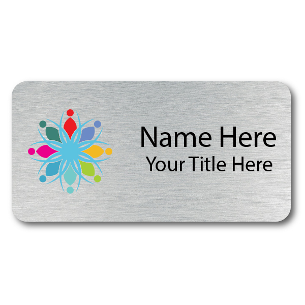 Custom Brushed Silver Name Tag - 1.25 x 3