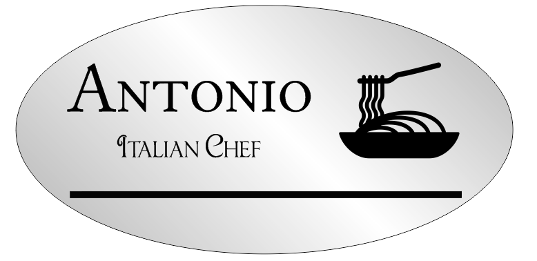 2 Line Silver Italian Restaurant Oval Name Badge A