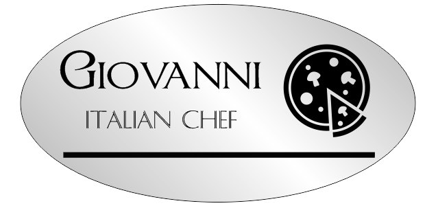2 Line Silver Italian Restaurant  Oval Name Badge B