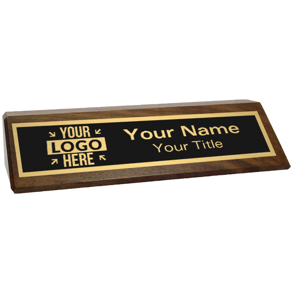 "Walnut Desk Name Plate with Logo | 2"" x 8"""