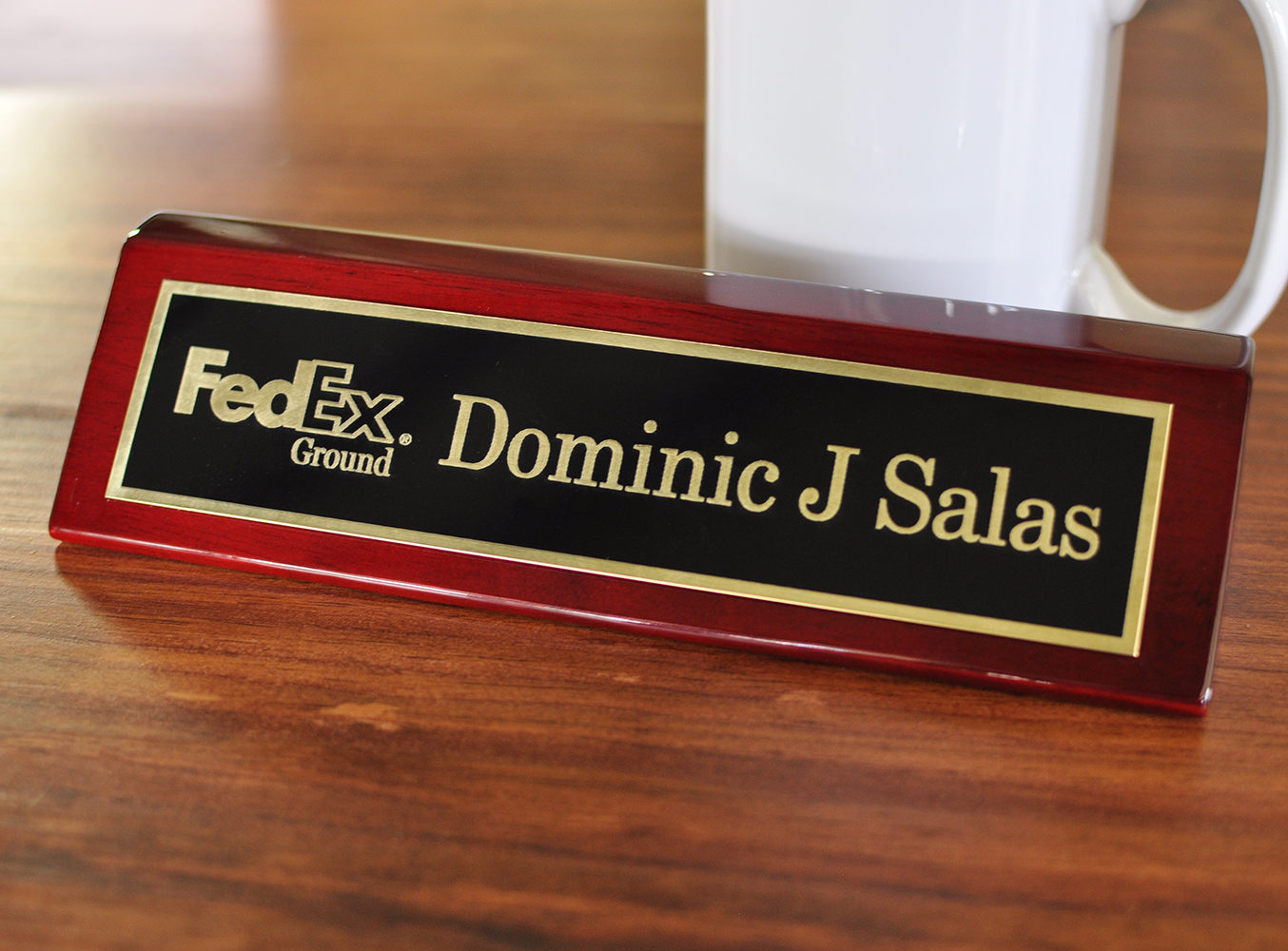 """Executive Brass Name Plate With Logo - Piano Rosewood Finish 2"""" x 8"""""""