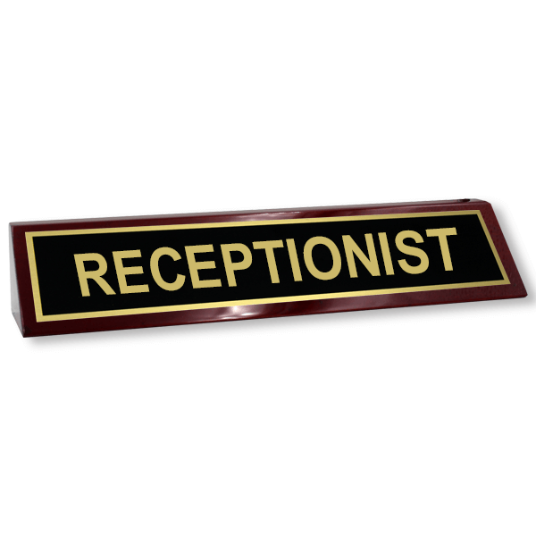 Rosewood Desk Plate Receptionist - 2