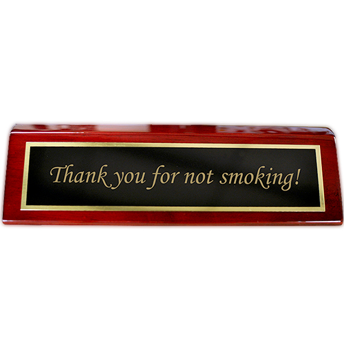 "Rosewood Desk Plate Thank you for not smoking - 2"" x 8"" Black Brass"