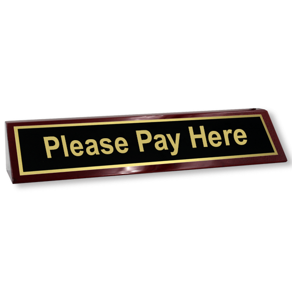 Please Pay Here Desk Wedge