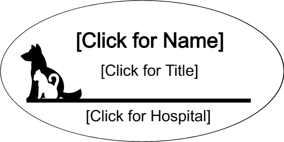 dr name tag template - engraved veterinary oval 3 line name tag name tag wizard