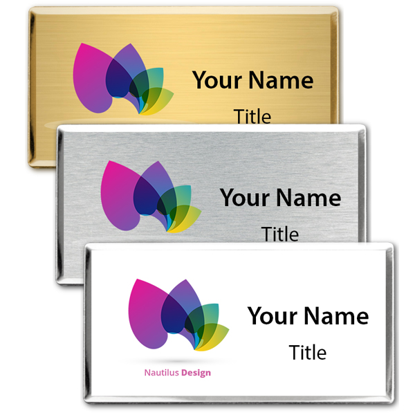 Full Color Executive Beveled Badges - Medium Rectangle