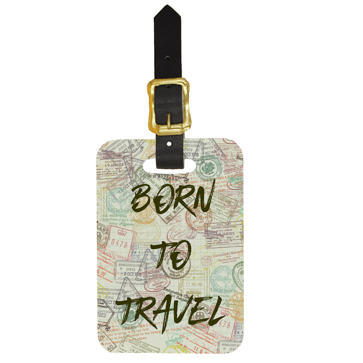 Custom Luggage Tag With Passport Stamp Design Name Tag