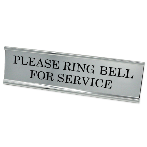 "Please Ring Bell for Service Desk Plate | 2"" x 8"""