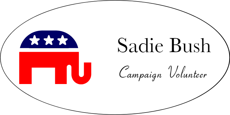 Full Color Republican Oval Name Tag