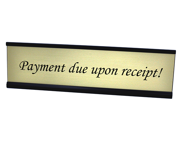 Payment Due Upon Receipt Desk plate Gold