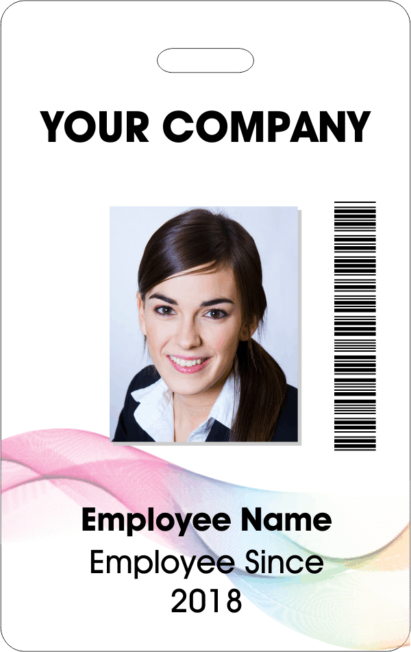 Abstract Rainbow Bar Code Photo ID Badge