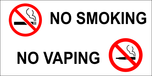 No Smoking No Vaping Vinyl Decal 3 Quot X 6 Quot Name Tag Wizard