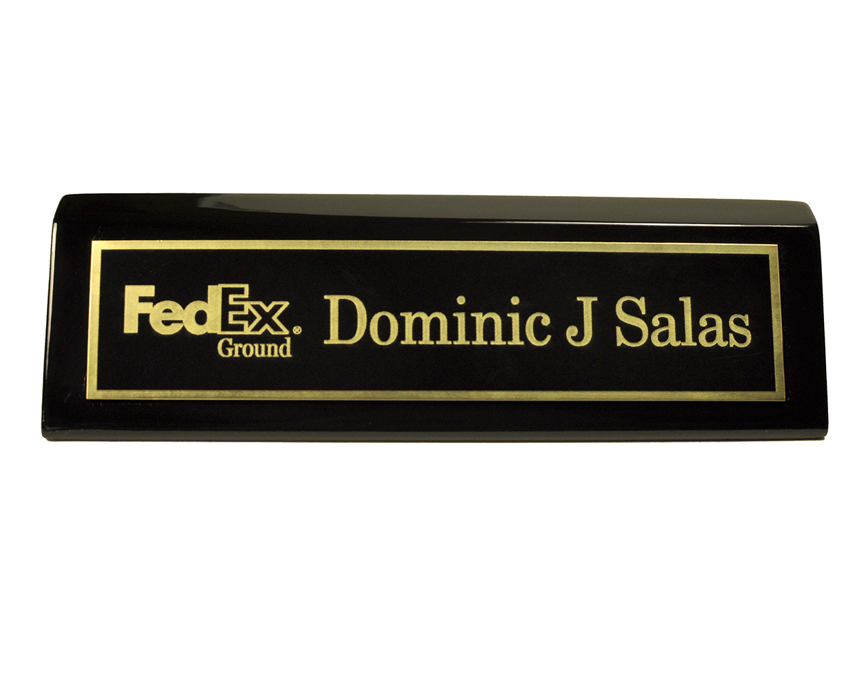 """Piano Black Desk Wedge with Black Plate and Logo - 2"""" x 8"""""""
