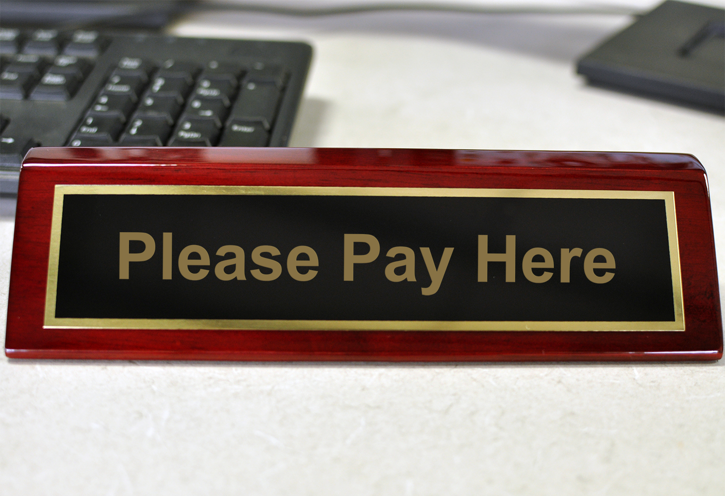 """Rosewood Desk Plate Please Pay Here - 2"""" x 8"""" Black Brass"""