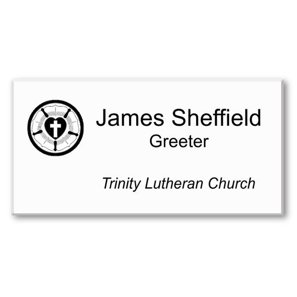 Engraved Three Line Lutheran Name Tag