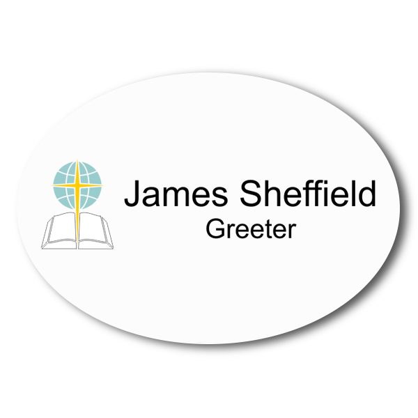Oval Color Baptist Name Tag