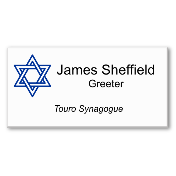 Three Line Color Jewish Name Tag