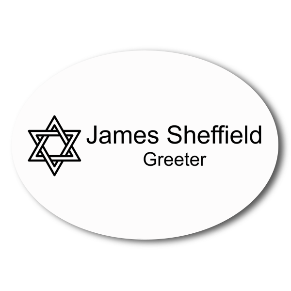 Oval Engraved Synagogue Name Tag