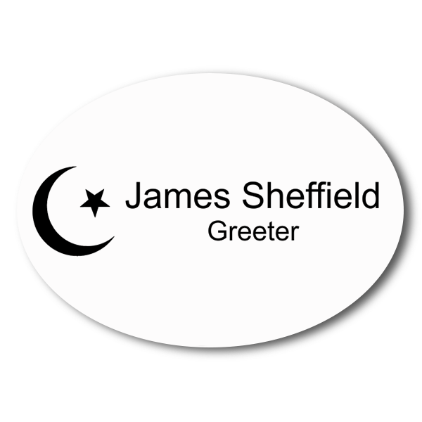 Engraved Oval Islam Name Tag