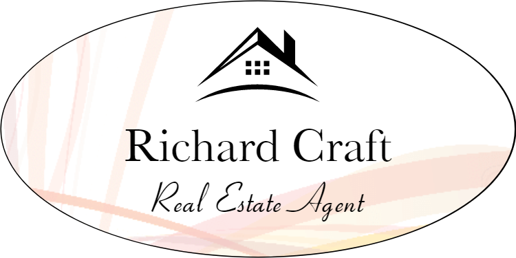 Abstract Centered Color Real Estate Name Tag