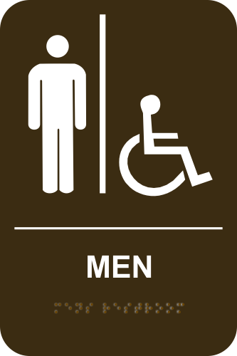 MEN ACCESSIBLE Stock Sign - Brown