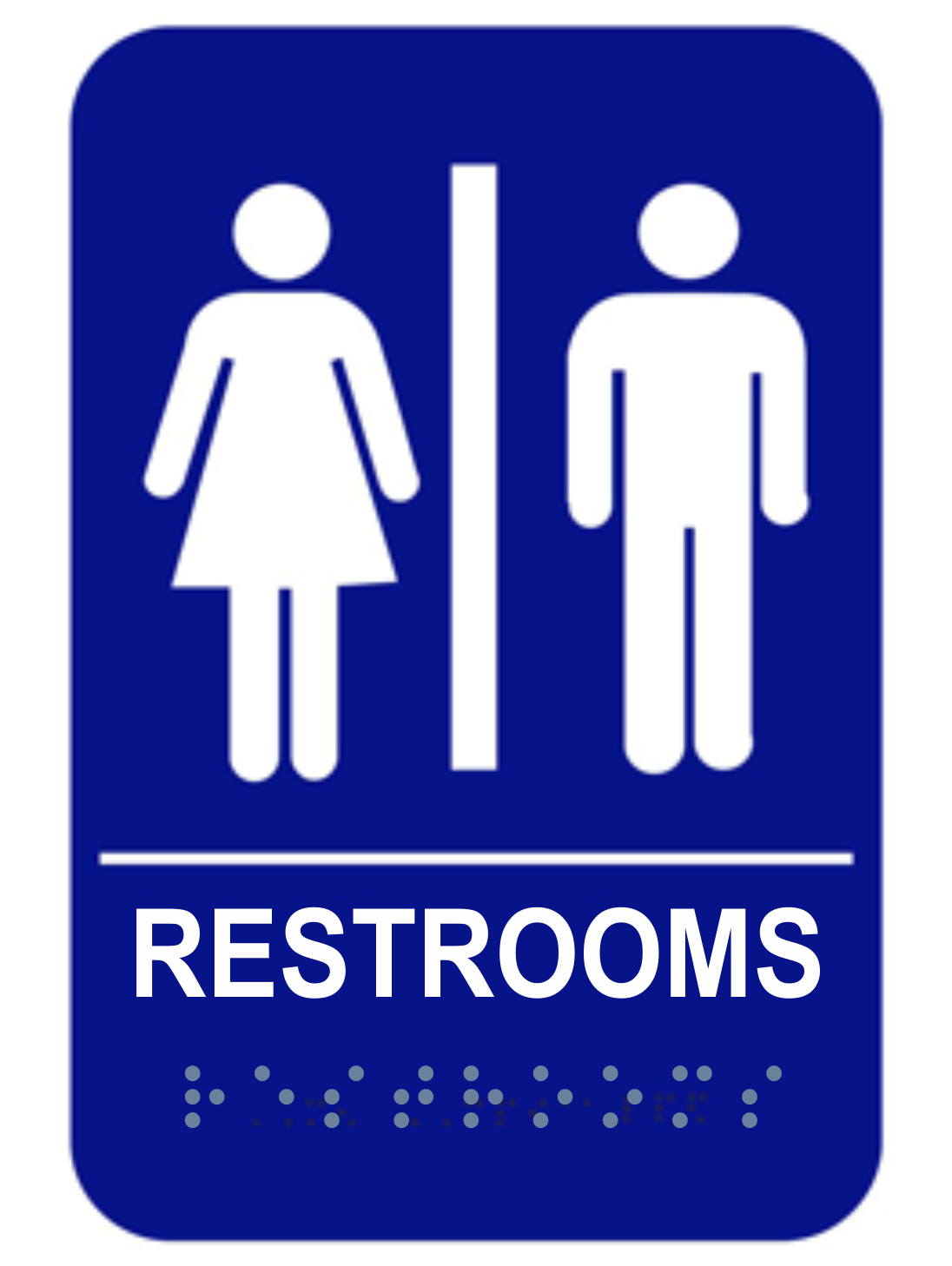 Unisex Blue Ada Compliant Restrooms Sign Name Tag Wizard