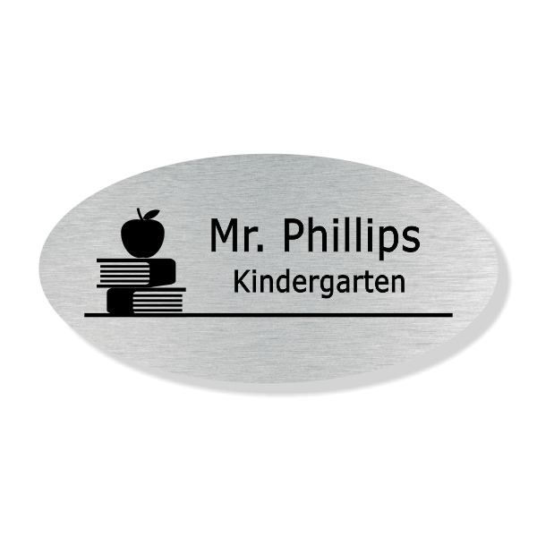 Apple on Book Stack Oval School Name Tag
