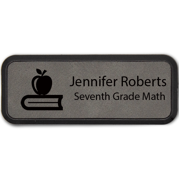 Apple on Book Teacher Leatherette Frame Name Tag