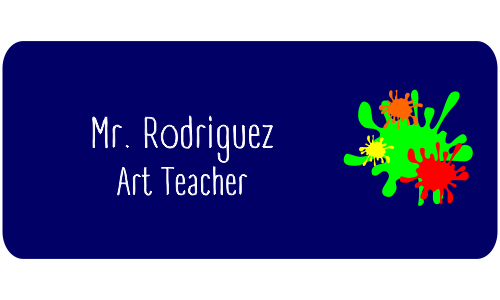 Art Teacher Rectangle 2 Line Name Tag B