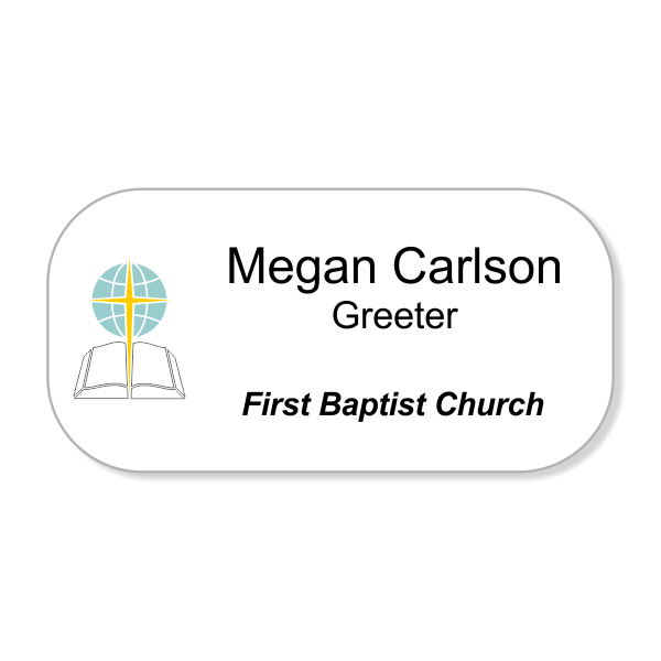 Baptist Full Color Name Tag - Large Rectangle