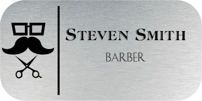 Barber Shop 2 Line Rounded Rectangle Name Tag