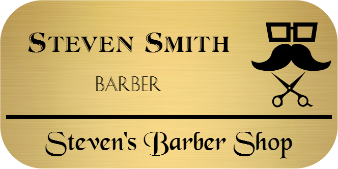 Barber Shop 3 Line Rounded Rectangle Boutique Name Tag