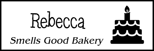 Bakery Birthday Cake 2 Line Name Badge