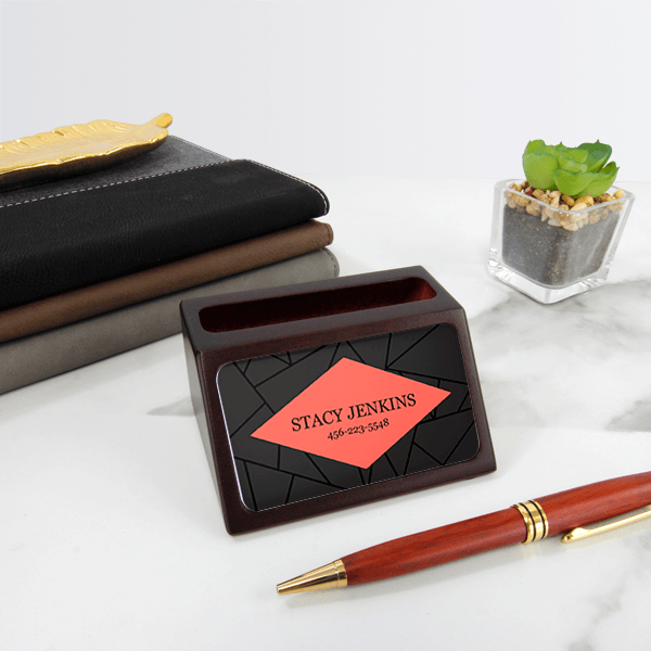 Geometric Mahogany Business Card Holder with Full Color Insert