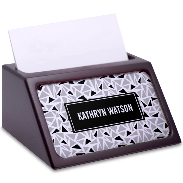 Monochrome Mahogany Business Card Holder with Full Color Insert