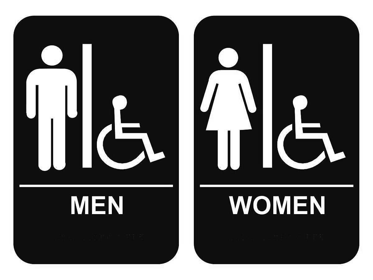 Ada Braille Men'S & Women'S Handicap Restroom Sign Set 6